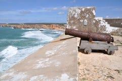 福特莱萨de Sagres,葡萄牙,欧洲大炮  免版税库存图片