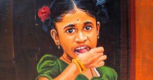 图象的绘在墙壁上在金奈,印度 免版税库存图片