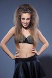 图象的Rockstar女孩 胸罩刺 免版税库存照片