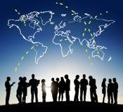 绘图连接地球世界地图概念 库存图片