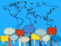 绘图连接地球世界地图概念 免版税库存照片