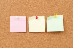 图钉和便条纸小组 免版税库存照片