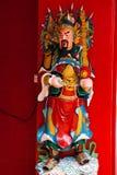 图阿Pek孔中国寺庙在唐人街 雕象 古晋,沙捞越 马来西亚 自治市镇 库存图片