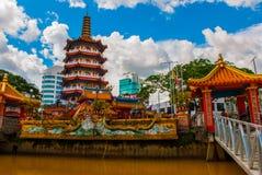 图阿Pek孔寺庙四埔市,沙捞越,马来西亚,婆罗洲的美丽的中国寺庙 免版税库存照片