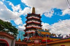 图阿Pek孔寺庙四埔市,沙捞越,马来西亚,婆罗洲的美丽的中国寺庙 免版税图库摄影