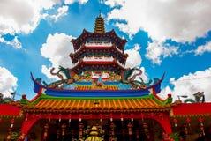 图阿Pek孔寺庙四埔市,沙捞越,马来西亚,婆罗洲的美丽的中国寺庙 库存图片