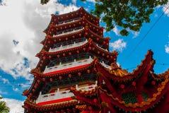 图阿Pek孔寺庙四埔市,沙捞越,马来西亚,婆罗洲的美丽的中国寺庙 库存照片