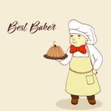 图面包师,烘烤在盘子,可笑的样式,胖的糖果商 向量例证