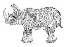 图画上色页、衬衣设计作用、商标、纹身花刺和装饰的zentangle犀牛 免版税图库摄影