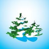 图画与雪的圣诞树在蓝色背景 圣诞节概念卡片 免版税库存图片