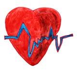图画儿童水彩在白色的动画片心脏 向量例证