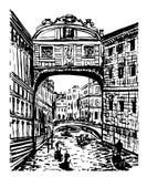 图画叹气桥梁的风景视图在威尼斯,意大利,手拉的图表例证剪影  向量例证
