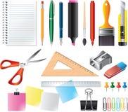 图画和办公室工具箱 免版税库存照片