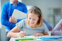 图画女孩例证查出的向量白色 库存图片