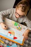 图画女孩例证查出的向量白色 免版税库存照片