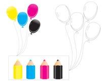 气球的彩图B 免版税库存照片