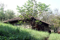 图画家庭房子例证农村草图村庄 免版税图库摄影