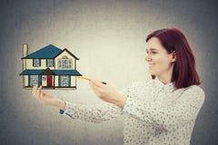 图画家庭房子 免版税库存照片