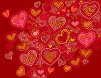 图画心脏在红颜色的形状背景对情人节 库存例证