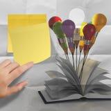 图画想法在书之外的铅笔和电灯泡概念与 库存照片