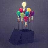 图画想法在箱子之外的铅笔和电灯泡概念 免版税库存图片