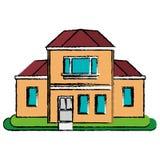 图画房子传统详细的modernn庭院 库存照片