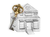 图画房子和钥匙 库存图片