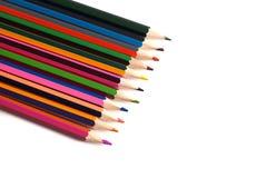 图画材料:不同的颜色铅笔  库存图片