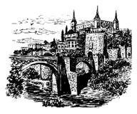 图画背景托莱多,西班牙风景视图  皇族释放例证