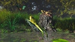 图画青蛙现有量上涨水彩 库存图片