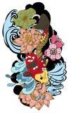 图画Koi鲤鱼日本纹身花刺样式 免版税库存照片