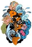 图画Koi鲤鱼日本纹身花刺样式 免版税库存图片
