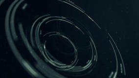 圆全息图接口圈,黑暗的hud抽象在焦点 股票视频