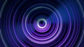 圆声波 搏动从中心的圆线的抽象动画 使成环的动画单色 库存例证