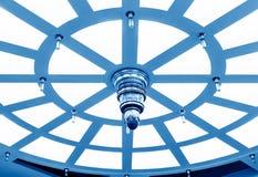 圆天花板,蓝色口气图象 库存图片
