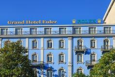 圆山大饭店欧勒大厦门面的上部 免版税库存照片