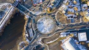 圆形交通路口环形交通枢纽时间间隔  影视素材