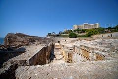 圆形剧场古老罗马废墟 免版税库存图片