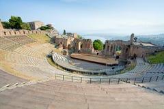圆形剧场古色古香的greco taormina teatro 库存图片
