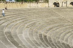 圆形剧场在拉罗马纳的,多米尼加共和国Altos de Chavon村庄跨步 免版税库存照片