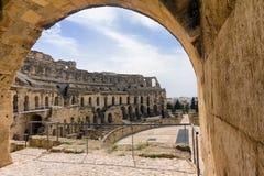 圆形剧场的内部在杰姆,突尼斯 图库摄影