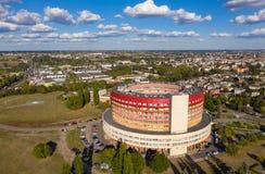 圆形建筑的大厦,医院在卡利什,波兰 免版税库存照片