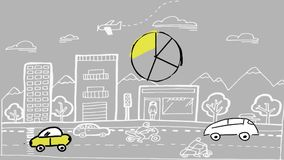 圆形统计图表和汽车 向量例证