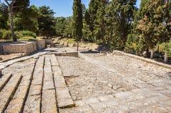 圆形露天剧场台阶在Knossos宫殿 库存照片