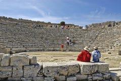 圆形露天剧场在Segesta西西里岛 免版税库存照片