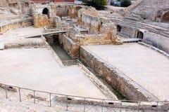 圆形露天剧场罗马废墟西班牙塔拉贡纳 免版税库存照片