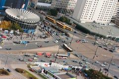圆形建筑华沙市、的波兰和回旋曲Dmowskiego 库存照片