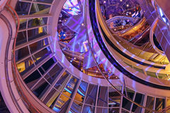 圆形建筑游轮的天花板 库存照片