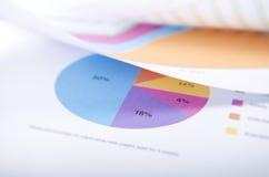 圆形统计图表和其他纸 库存图片