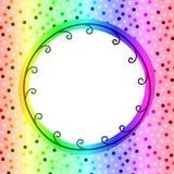 圆彩虹框架邀请卡片 库存照片